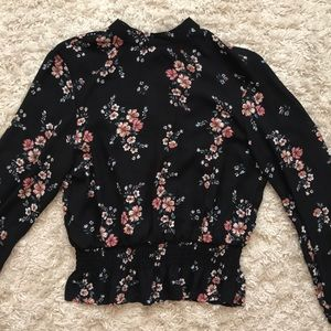 Black H&M blouse with flowers